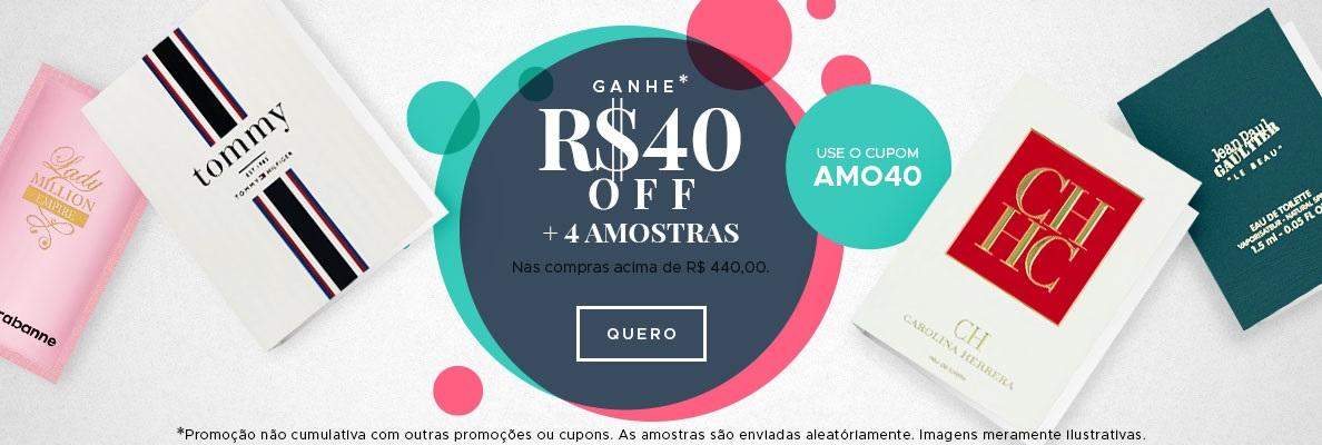 Ganhe R$ 40 OFF + 4 Amostras (on)